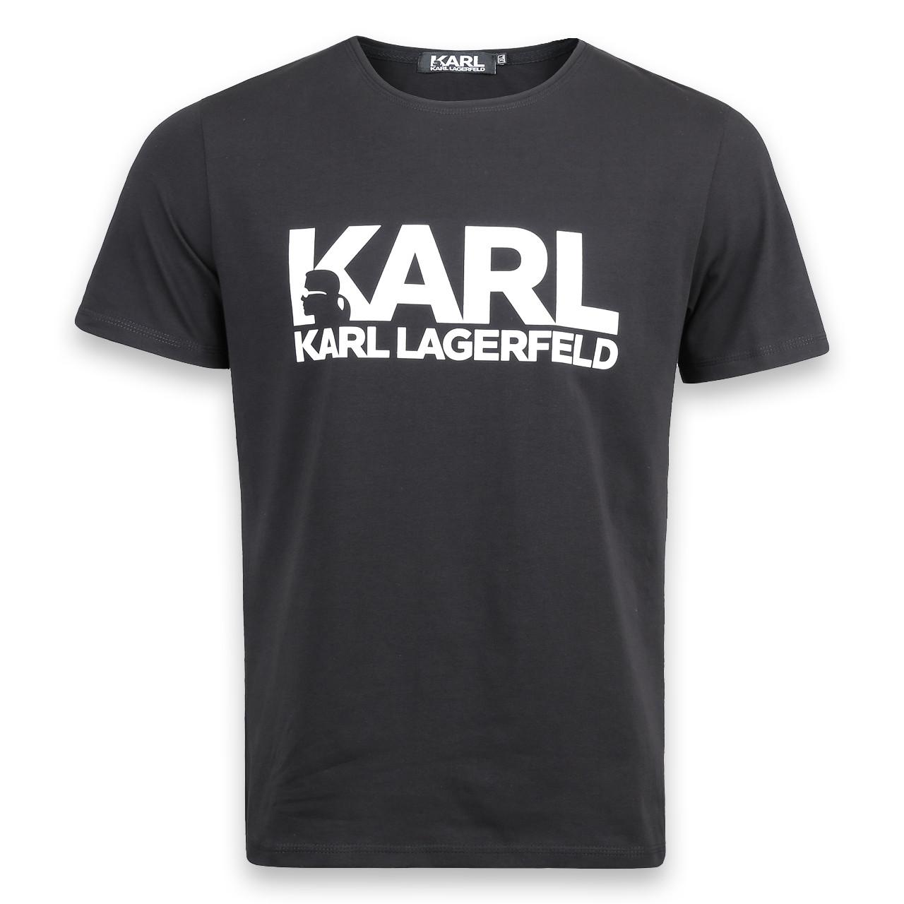 Футболка мужская черная KARL LAGERFELD с принтом №1 Ф-10 BLK L(Р) 20-838-020