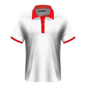 Мужская футболка поло для сублимации, белый/красный