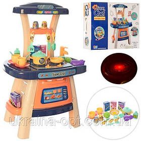 Кухня детская 43-63-28 см, Syper Chef 16855 плита, духовка, посуда, продукты