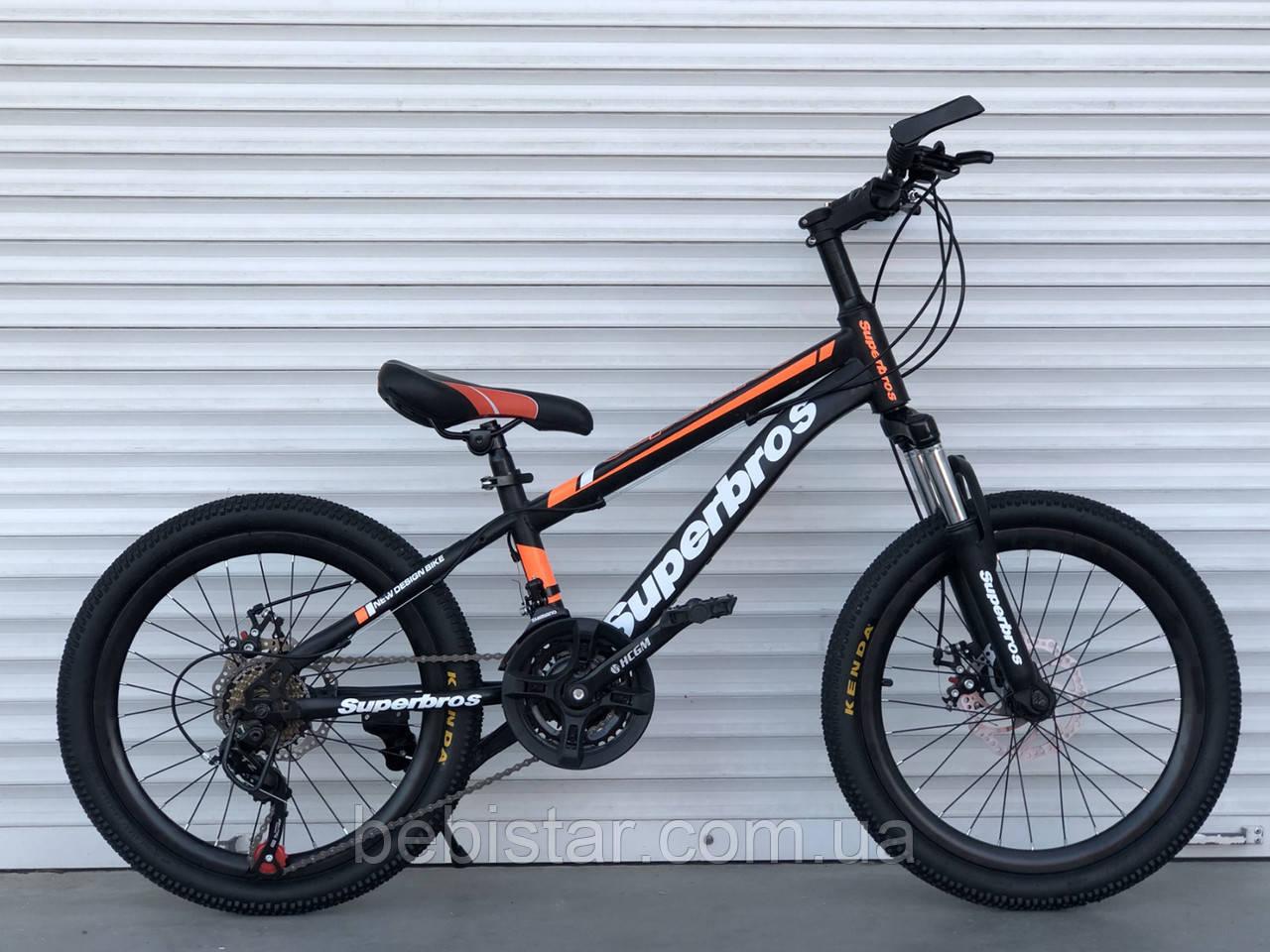 Спортивный велосипед TopRider 20 дюймов оранжевый 21 скорость металлическая рама детям от 5 лет рост от 115 см