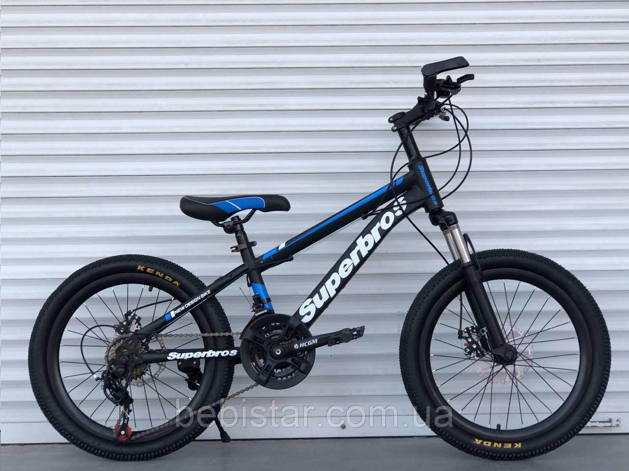 """Дитячий спортивний велосипед TopRider 20 дюймів чорно-синій 21 швидкість металева рама 12"""" з 5 років від 115см"""