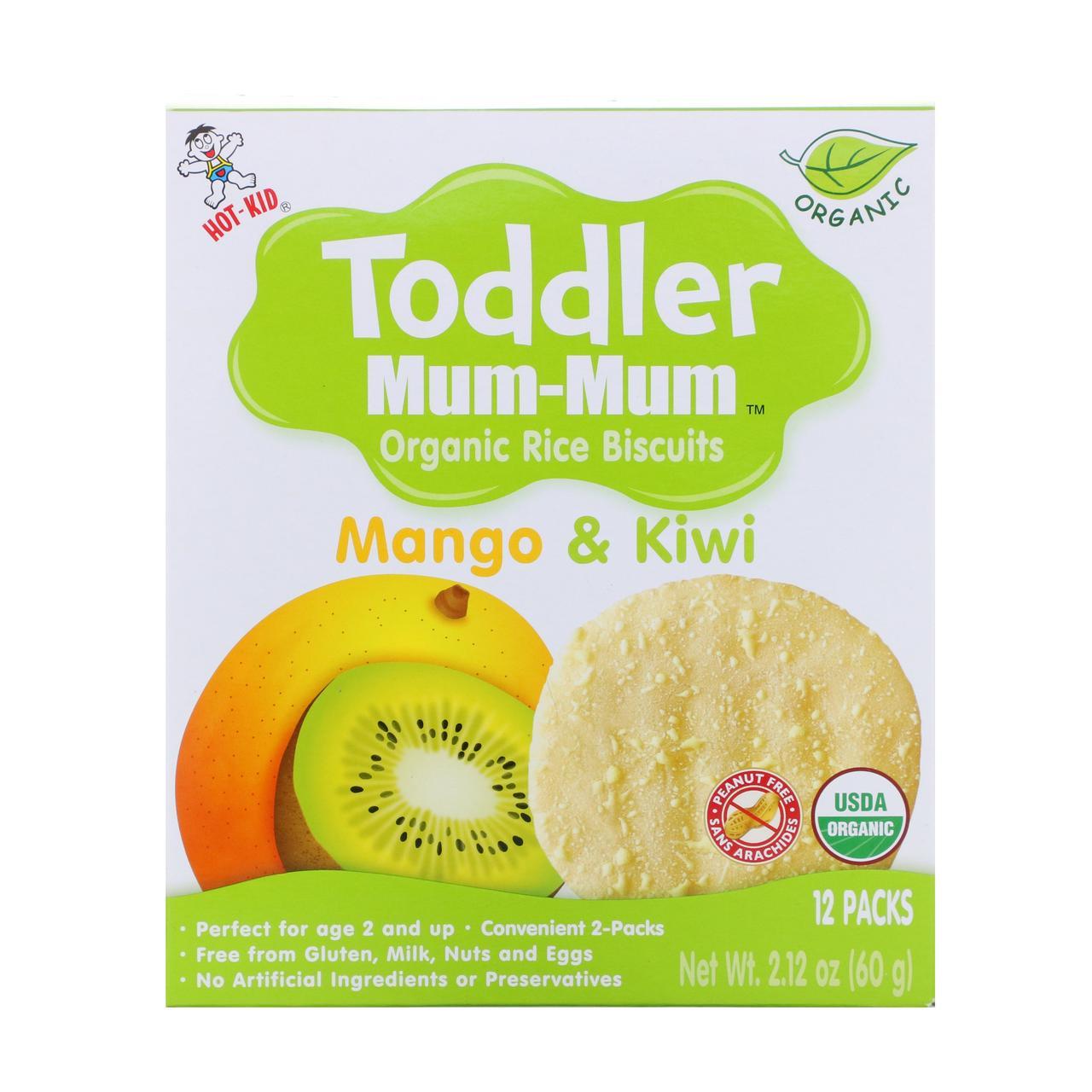 Органическое рисовое печенье, манго и киви, 12 упаковок, 60 г  Hot Kid, Toddler Mum-Mum,