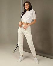 Женские штаны батал, двунить, р-р 50-52 (белый)