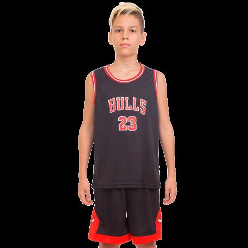 УЦЕНКА: Форма баскетбольная NBA Chicago Bulls (р-р M-130-140 см, черный-красный) детская и подростковая