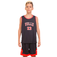 УЦЕНКА: Форма баскетбольная NBA Chicago Bulls (р-р M-130-140 см, черный-красный) детская и подростковая, фото 1