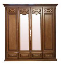 Шкаф четырехдверный с зеркалом Элеонора нова распашной из натурального дерева от Элеонора стиль