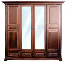 Шкаф четырехдверный с зеркалом Элеонора распашной из натурального дерева от Элеонора стиль Разные цвета