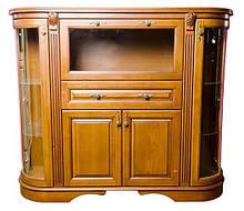 Радиусный комод из массива дуба со стеклянными дверцами Зефир 3 классический от Элеонора стиль