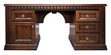 Стол руководителя из массива Оскар с кожаной вставкой Письменный стол в кабинет руководителя дуб