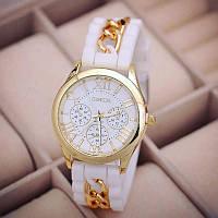 Белые силиконовые часы с цепочкой Geneva