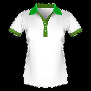 Женская футболка поло для сублимации, белый/зеленый