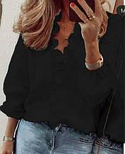 Женская блузка, рубашечный коттон, р-р универсальный 42-46 (чёрный)