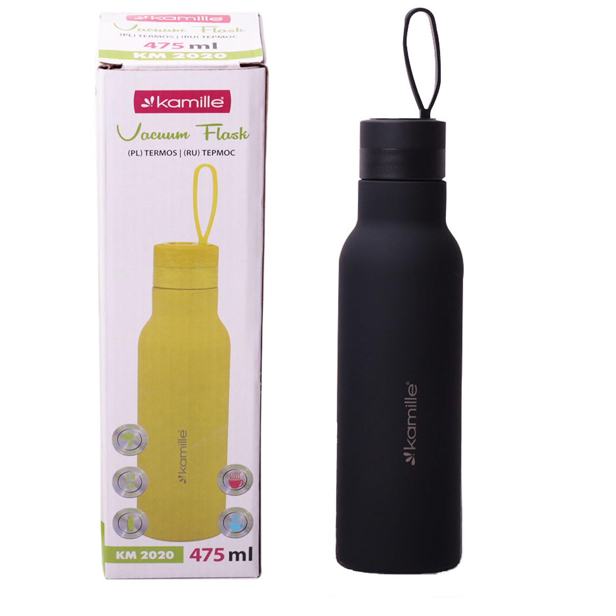 Термос-бутылка Kamille Черный 475мл из нержавеющей стали KM-2020CH