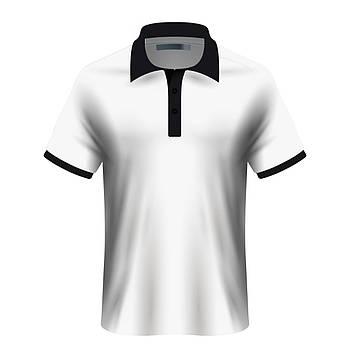 Мужская футболка поло для сублимации, белый/черный