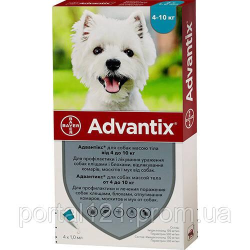 Капли от блох и клещей Bayer Advantix для собак весом 4-10 кг, цена за 1 пипетку