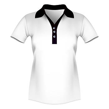 Женская футболка поло для сублимации, белый/черный