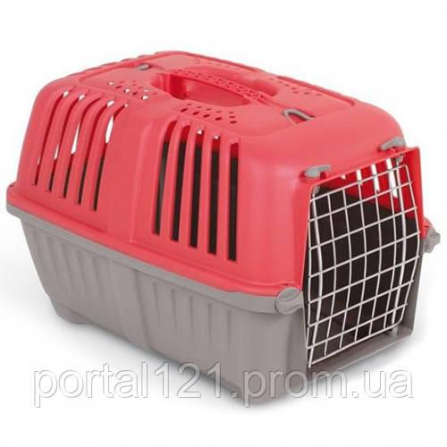 Переноска MPS Pratico 1 для животных, с металлической дверцей, красная,  48×31.5×33 см