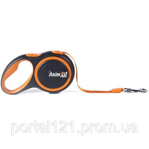 Поводок-рулетка AnimAll для собак весом до 15 кг, 3 м, оранжевый