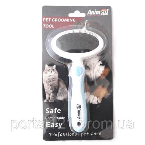 Пуходерка AnimAll Groom для животных, М, голубая
