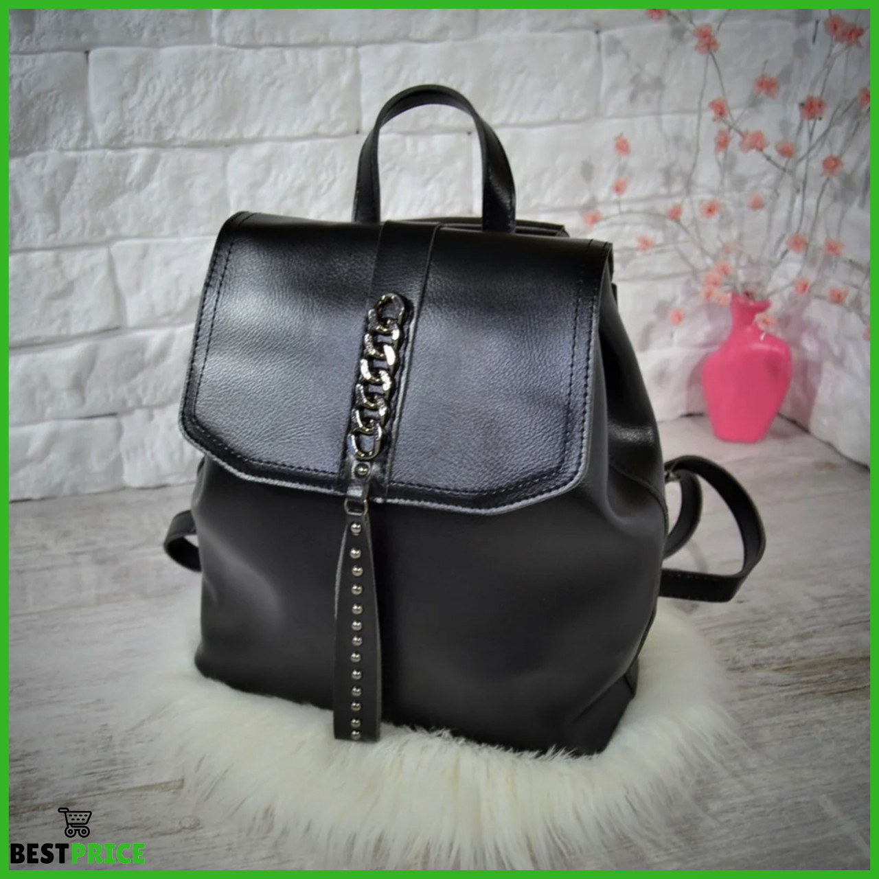 Женский рюкзак-сумка Джессика с клапаном .Черный