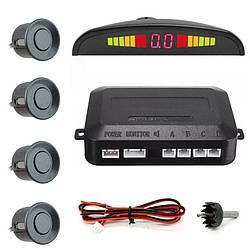 Парктроник автомобильный на 4 датчика + LCD монитор темно-серебряный (5428)