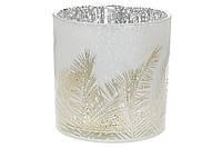 Подсвечник стеклянный с рисунком Тростник (цвет - матовое серебро15*15см)