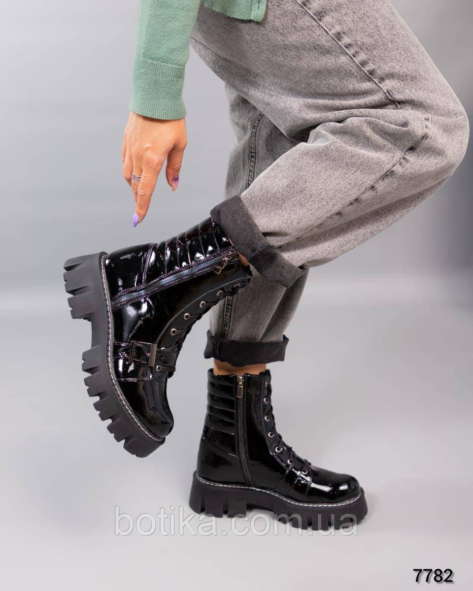 Деми и Зима! Стильные лаковые ботинки женские черные