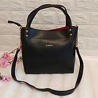 Женская сумка среднего размера двухцветная ( черный красный)