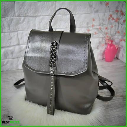 Женский рюкзак-сумка Джессика с клапаном .Темно-серый, фото 2