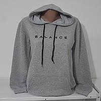 """Свитшот женский в стиле OVERSIZE с вышивкой """"Balance """" - серый - ОПТОМ !!!"""
