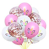 """Набор латексных воздушных шаров """"Единороги"""" с конфетти"""