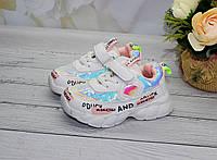 Модные белые кроссовки для девочек с пайетками