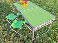 Складной стол для пикника + 4 стула, зеленого цвета, алюминиевый раскладной столик