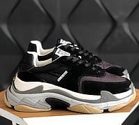 Balenciaga Triple S 2.0 Sneaker Black Grey | кроссовки женские; черные-серые; весенние/осенние