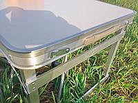 Усиленный складной стол для пикника + 4 стула, белый, алюминиевый раскладной столик
