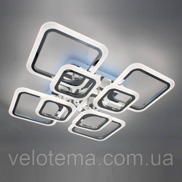 Світлодіодна акрилова люстра з пультом 88W*2+33W RGB хром