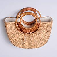 Полукруглая женская плетеная сумочка из ротанга с Бали, бежевый цвет ( код: IBG215M )