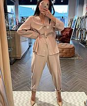 Женский костюм батал, американский креп, р-р универсальный 48-52 (бежевый)