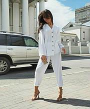 Женский костюм батал, американский креп, р-р универсальный 48-52 (белый)