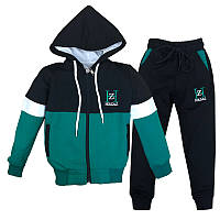 Костюм спортивный для мальчика 92-122 (2-7лет) 101 Зеленый с черным + капюшон