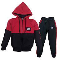 Костюм спортивный для мальчика 92-122 (2-7лет) 102 Красный с черным + капюшон