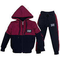 Костюм спортивный для мальчика 128-176 (8-15лет) 002 Бордовый с черным + капюшон