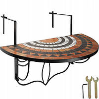 Балконный стол, мозаика, сложенная, керамическая плитка / белый