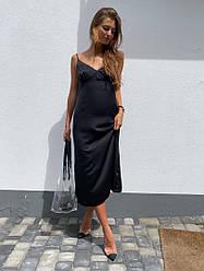 Шелковое платье-комбинация,черного цвета