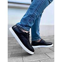 Мужские кеды из натуральной кожи, черные кожаные спортивные туфли