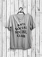 Мужская футболка Анти социал, спортивная футболка Anti social social club, хлопок