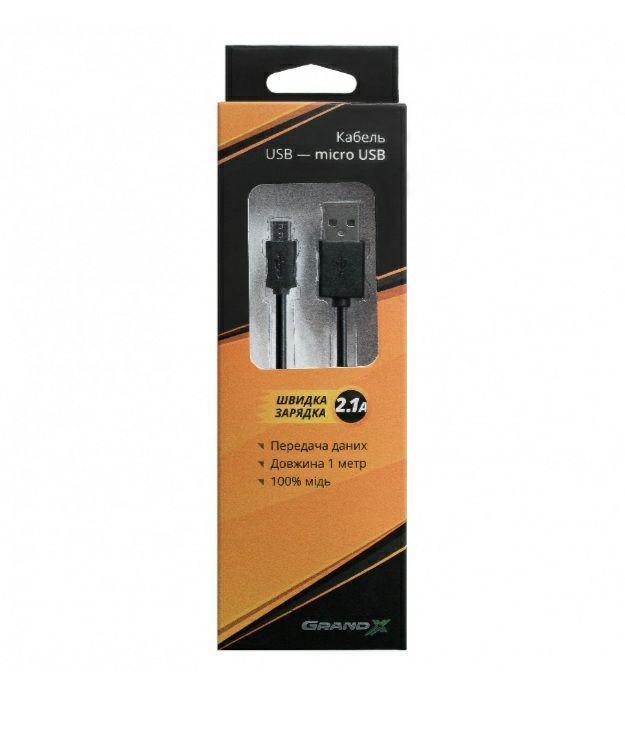 Кабель Grand-X USB-microUSB, 1м, 2.1 A, Cu, Black (PM01B), упаковка - гифтбокс з вікном