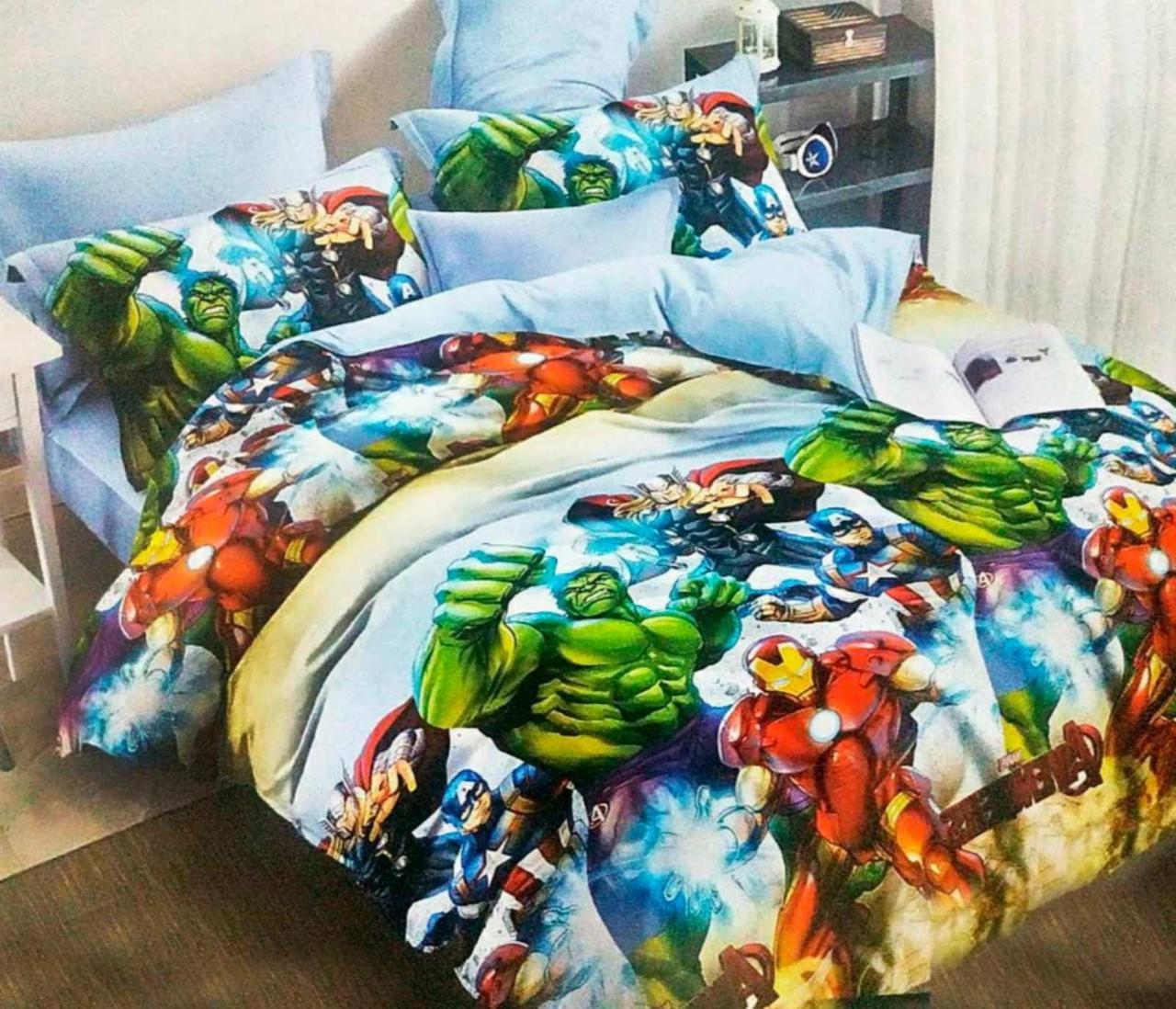 Комплект постельного белья подростковый  полуторный Супер герои