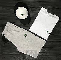 Мужской костюм кепка футболка и шорты Лакост, кепка футболка шорты Lacoste,Турецкий трикотаж