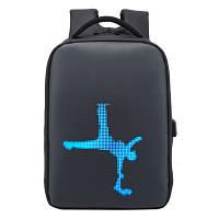 """Рюкзак городской  для ноутбука 15,6"""" с LED экраном и USB, черный цвет ( код: IBN013B )"""